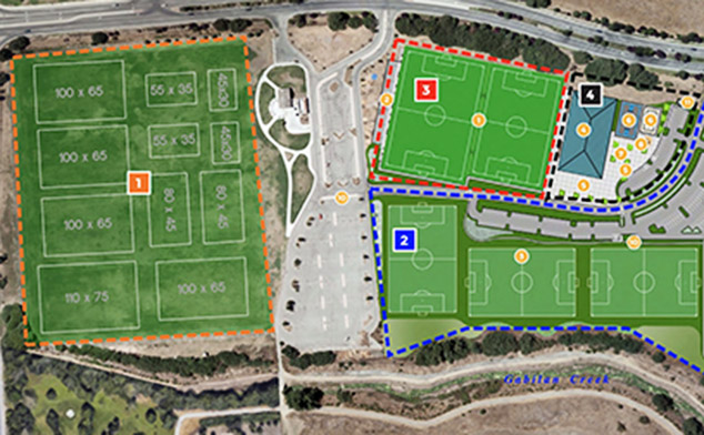 Aerial view of proposed soccer complex.